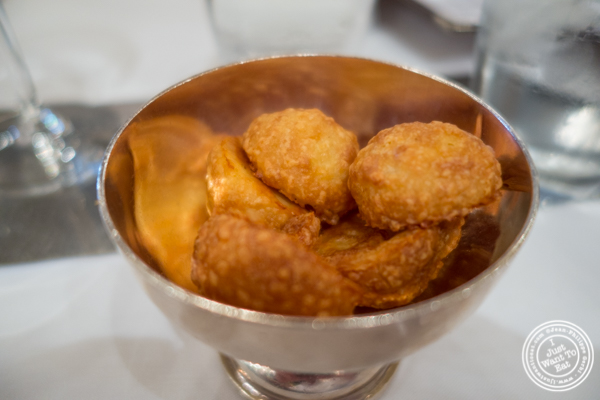 Gougères or cheese puffs at Benoit in NYC, New York
