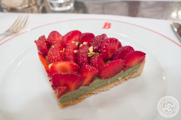 Strawberry and pistachio tart at Benoit in NYC, New York