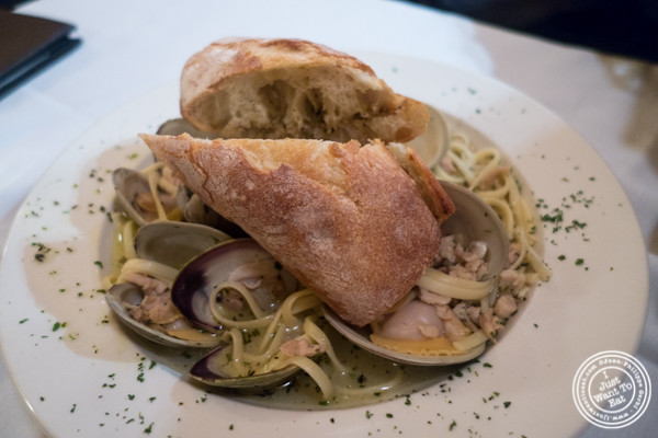 Linguine alle vongole at Hudson Tavern in Hoboken, NJ