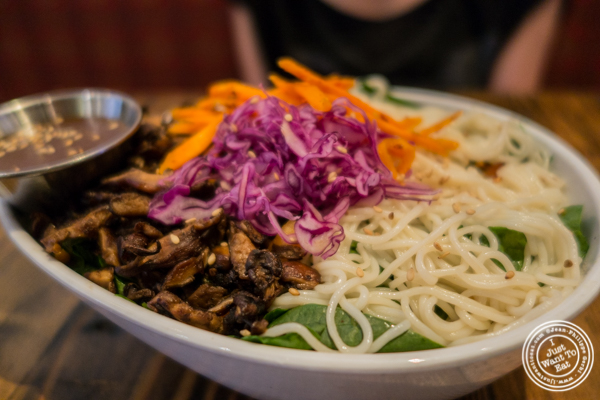 Baby Spinach shiitake noodle salad at BarKogi in NYC, New York