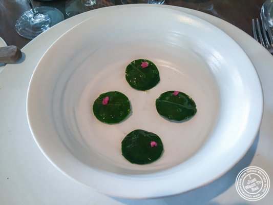 Sweet shrimp wrapped in ramson leaves at Noma in Copenhagen, Denmark