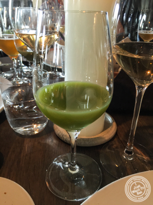Carrots and gooseberries juice at Noma in Copenhagen, Denmark