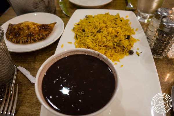 Rice and beans at La Isla Uptown in Hoboken, NJ