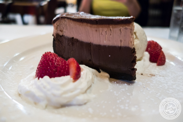 Triple chocolate cheesecake at Hudson Tavern in Hoboken, NJ