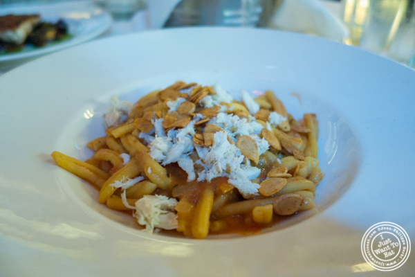 casarecce pasta with blue crab at Blue Water Grill in NYC, New York