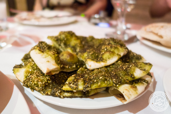 Zaatar pies at Byblos, Lebanese restaurant in NYC, New York