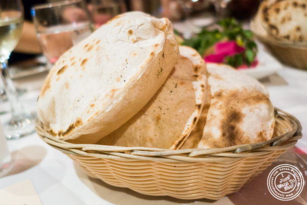 Homemade pita at Byblos, Lebanese restaurant in NYC, New York