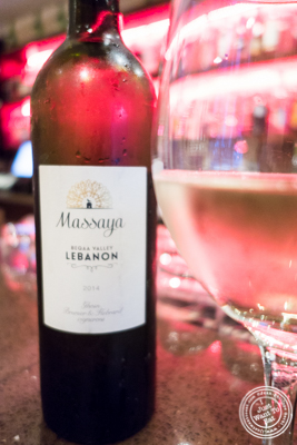 Massaya wine from Lebanon at Byblos, Lebanese restaurant in NYC, New York