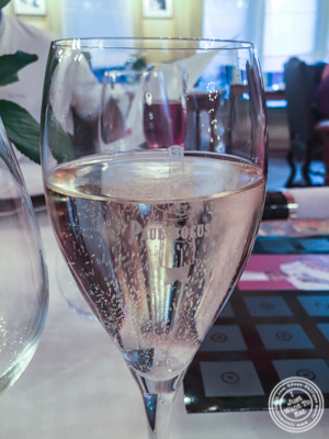 Champagne glass at L'Auberge du Pont de Collonges of Paul Bocuse in France