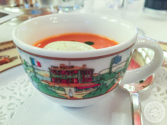 Tomato velouté at L'Auberge du Pont de Collonges of Paul Bocuse in France