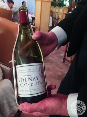 Bottle of Volnay Clos Des Ducs at at L'Auberge du Pont de Collonges of Paul Bocuse in France