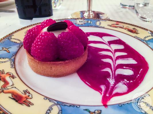 Raspberry tart at L'Auberge du Pont de Collonges of Paul Bocuse in France