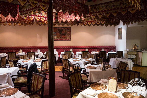 Dining room at Saalam Bombay, Indian restaurant in TriBeCa, NYC, New York