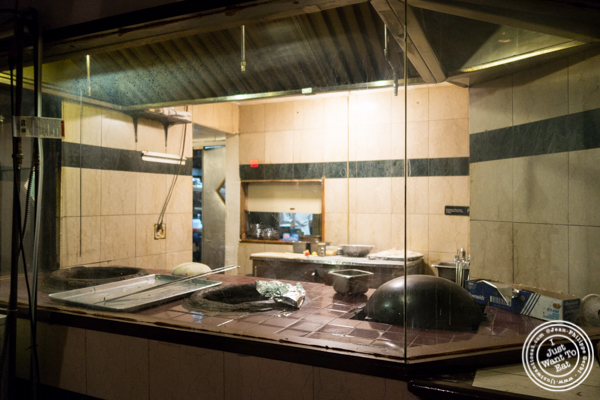 Kitchen with tandoor oven at Saalam Bombay, Indian restaurant in TriBeCa, NYC, New York