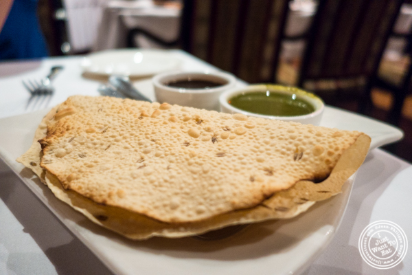 Papadam at Saalam Bombay, Indian restaurant in TriBeCa, NYC, New York