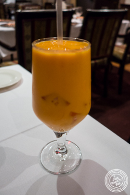 Mango lassi at Saalam Bombay, Indian restaurant in TriBeCa, NYC, New York