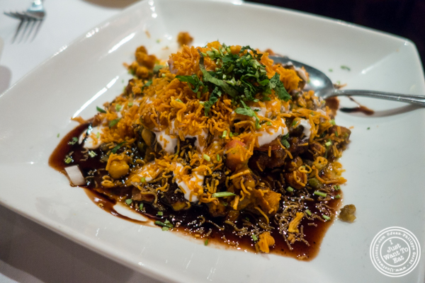 Samosa chaat at Saalam Bombay, Indian restaurant in TriBeCa, NYC, New York