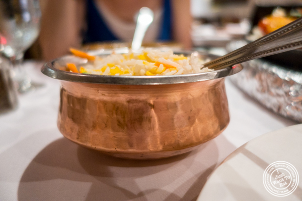 Pulao rice at Saalam Bombay, Indian restaurant in TriBeCa, NYC, New York