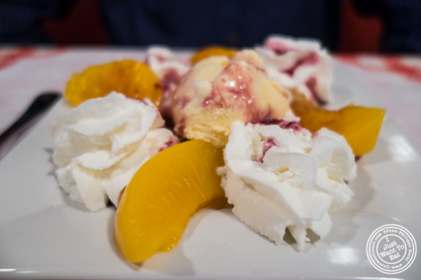 Peche melba at Tout Va Bien, French Restaurant in NYC, New York