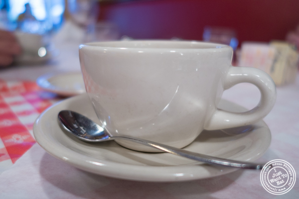 Double espresso at Tout Va Bien, French Restaurant in NYC, New York
