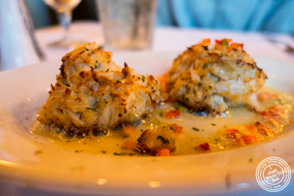 Blue crab cakes at Ruth's Chris Steakhouse in Weehawken, NJ