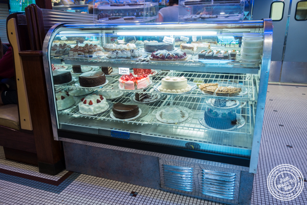 Dessert display at Malibu Diner in Hoboken, NJ