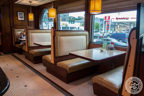 Booths at Malibu Diner in Hoboken, NJ