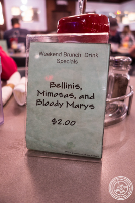 Brunch promotion at Malibu Diner in Hoboken, NJ