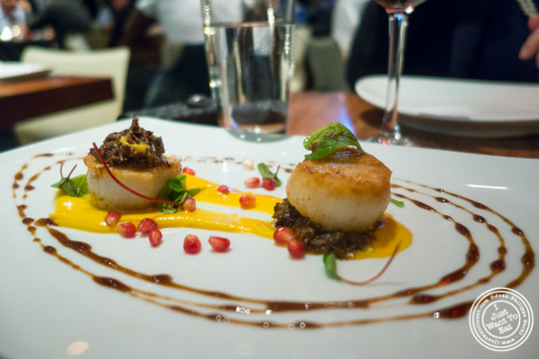 Seared scallops at STK, modern steakhouse in NYC, New York