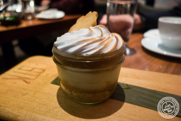 Banana cream pie in a jar at STK, modern steakhouse in NYC, New York