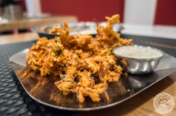 Onion pakora at Dosai, Indian restaurant in NYC, New York