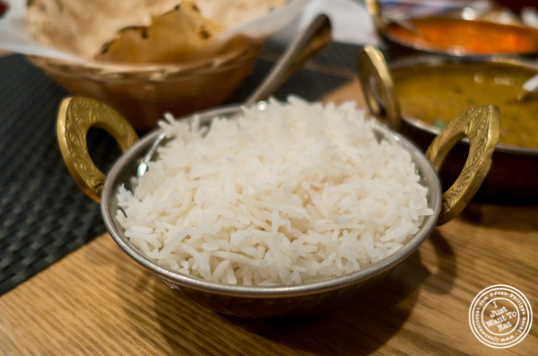Basmati rice at Dosai, Indian restaurant in NYC, New York