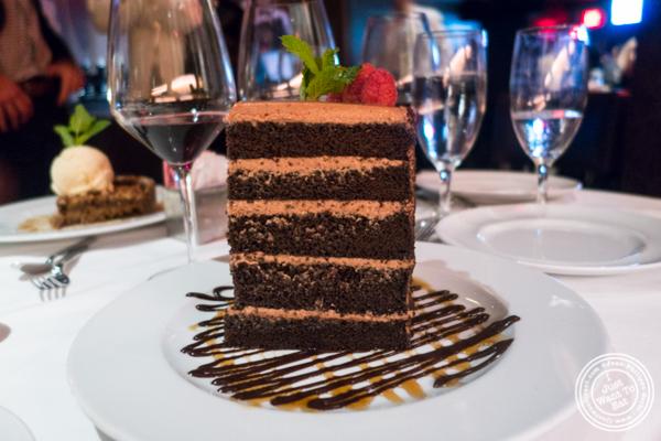 Seven layers chocolate cake at Mastro's Steakhouse in NYC, New York