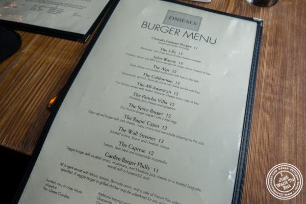 Burger menu at Onieal's in Hoboken, NJ