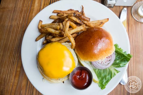 Signature burger at Onieal's in Hoboken, NJ