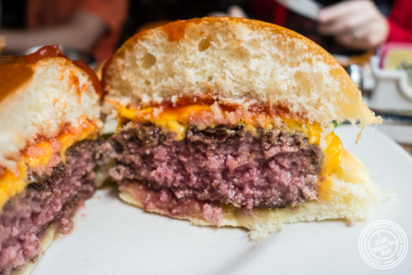 Signature burger at Onieal's in Hoboken, NJ