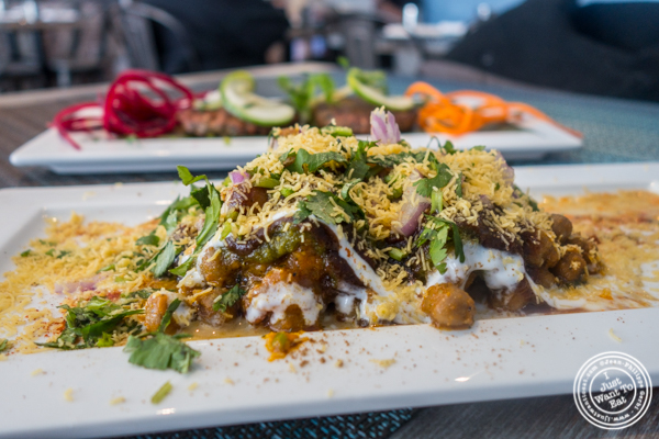 Samosa chaat at Tikka Indian Grill in Williamsburg, Brooklyn