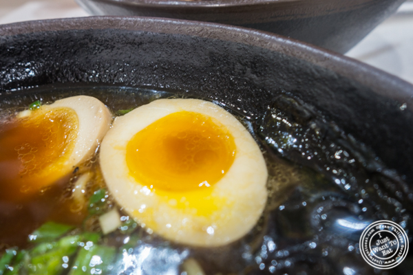 Egg in Vivi Shoyu ramen at Vivi Bubble Tea in Hoboken, NJ