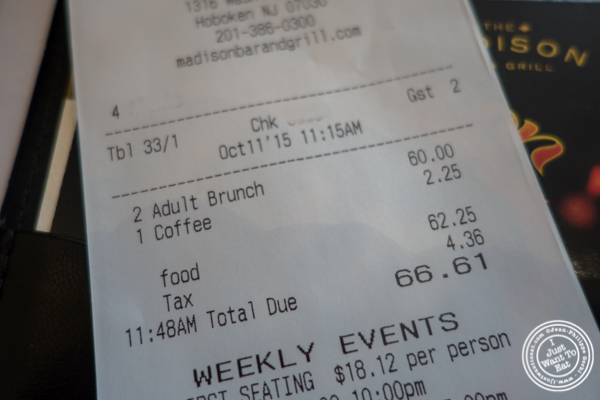 The bill at The Madison Bar and Grill in Hoboken, NJ
