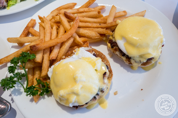 Crab cakes benedict at Court Street Restaurant and Bar in Hoboken, NJ