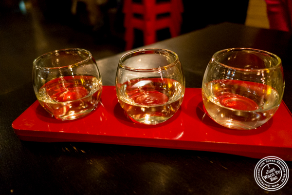 Sake flight at Sake Bar Shigure in Tribeca, NYC, New York