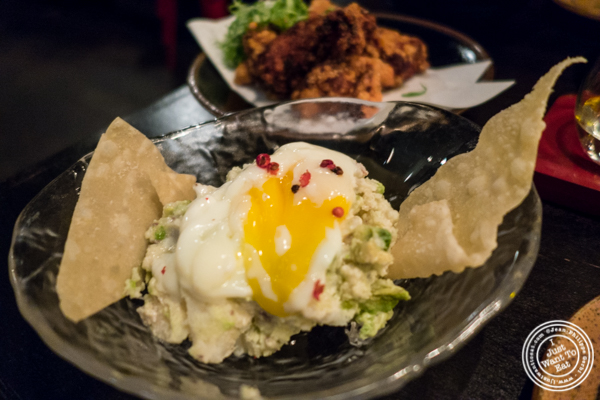 Avocado potato salad at Sake Bar Shigure in Tribeca, NYC, New York