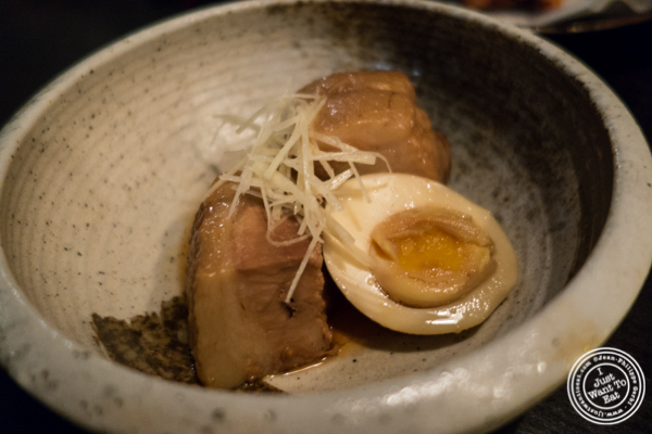 Pork belly kakuni at Sake Bar Shigure in Tribeca, NYC, New York