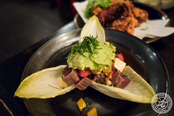 Tuna guacamole at Sake Bar Shigure in Tribeca, NYC, New York