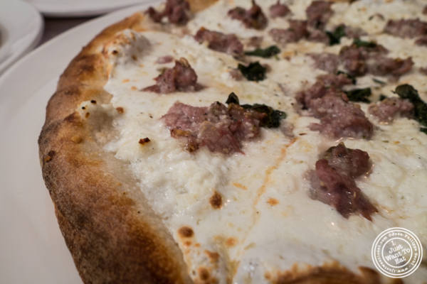 White pie with sausage at Grimaldi's Pizza in Hoboken, NJ