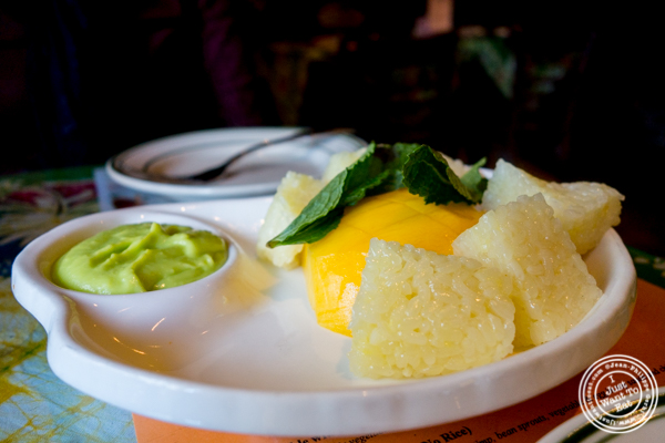 Mango sticky rice at Satay Malaysian Cuisine in Hoboken, NJ
