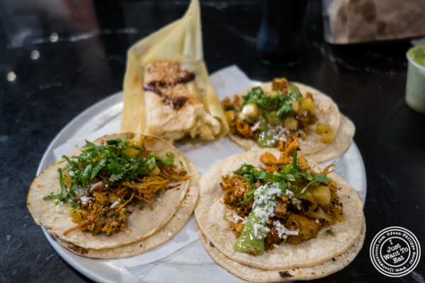 Chicken tacos at Choza Taqueria at The Gotham West Market in NYC, New York