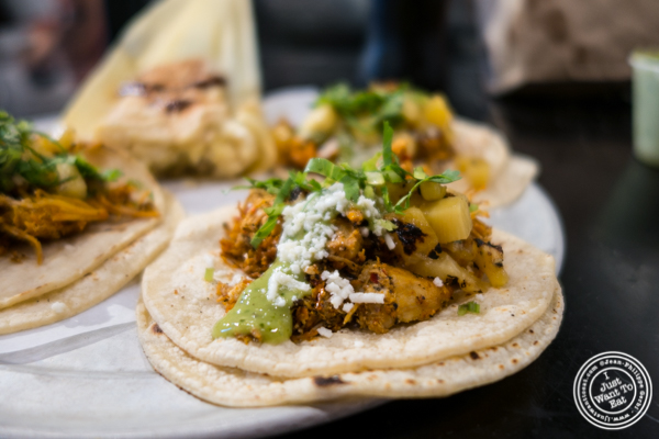 Chicken taco at Choza Taqueria at The Gotham West Market in NYC, New York