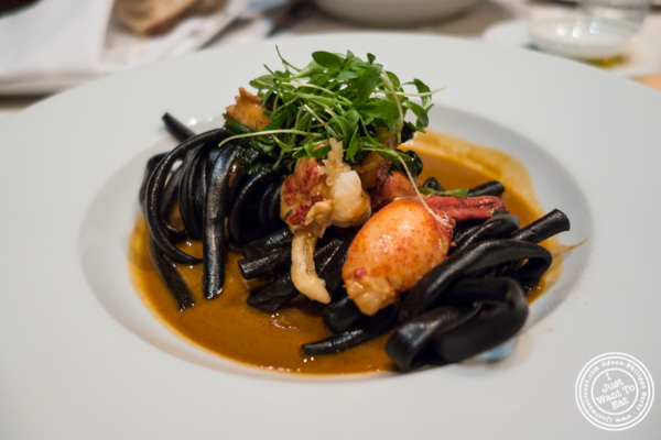 Squid ink bucatini with lobster at White Street in Tribeca, NYC, New York