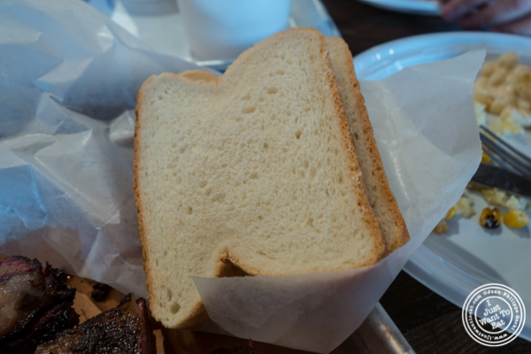White bread at House of Que in Hoboken, NJ